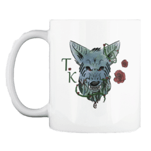 Wolf Coffee mug with roses