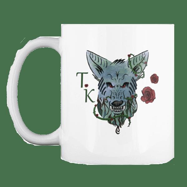 Wolf Coffee mug with roses