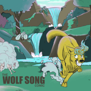 The Wolf Song comic Cover. It shows Kara running from wolves